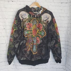 Vintage Ed Hardy Zip Bomber Jacket Satin Skulls XL